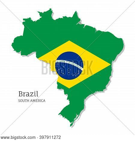 Map Of Brazil With National Flag. Highly Detailed Editable Brazilian Map, South America Country Terr
