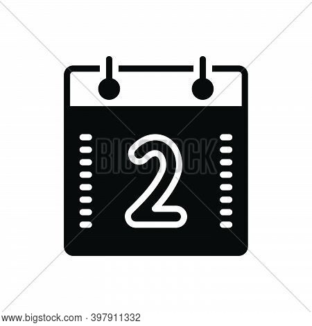 Black Solid Icon For Two Calendar Geometric Digit Mathematical Calculated Numerical Number Letter Co