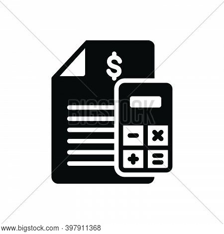 Black Solid Icon For Budget Financial-plan Accounts Statement Calculate Allocate Accounting Banking