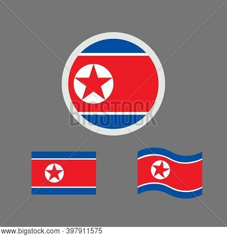 Vector Illustration Of North Korea Flag Sign Symbol. Democratic People's Republic Of Korea Flag Vect