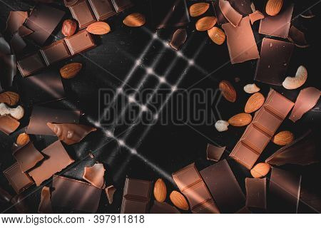 Chocolate Like Music Concept Photo Top View Frame With Light Lines In Shape Of Guitar Fretboard Phot