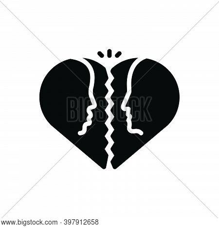 Black Solid Icon For Divorce Attorney Family Judge Justice Breakup Separation Divorcement Heart Emot