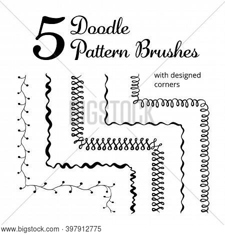 Vector Set Of Five Hand Drawn Brushes With Corner Tiles. Seamless Pattern Of Different Colors For Fr