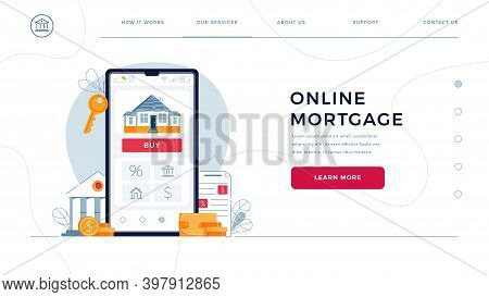 Mortgage Online Web Page Template For Concept Of New Home Buying Online. House, Bank Building, Loan