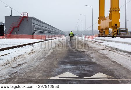 Chernobyl, Ukraine - December, 2016: Worker Of The Chernobyl Nuclear Power Plant Is Near Spent Nucle