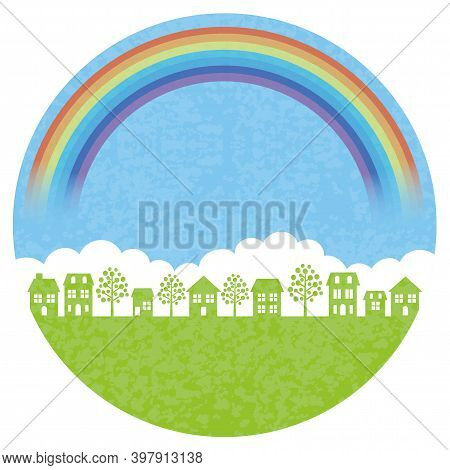 Round Townscape Background With The Rainbow Isolated On A White Background, Vector Illustration.