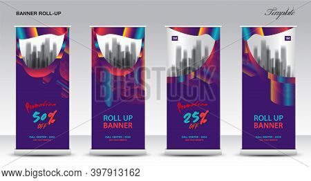 Purple Roll up banner vector template, banner design, web banner, Modern Exhibition Advertising Trend Business Roll Up Banner, Stand, Poster, Brochure flat design, Presentation, display, x-banner, flag-banner. Stock vector.