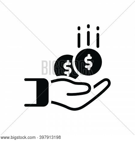 Black Solid Icon For Collect Gather Pile Save Contribution Money Income Deposit Exchange