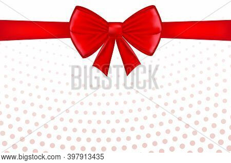 Red Bow With Ribbon And Space For Text. Gift Voucher. Certificate Or Discount Card Template For Prom