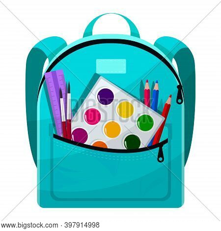 Colored School Backpack. Education, Schoolbag Luggage, Rucksack. Kids School Bag Backpack With Educa