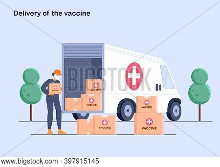 The courier outside of the truck with boxes of the vaccine. The vaccine was found for the virus. Delivery of medicines to pharmacies and at home.  Vaccination concept illustration.Time to vaccinate. Get your flu shot.