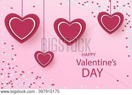 Valentines day illustration of love background for happy valentines day card with hearts.  Happy Valentines Day card with hearts, cupids and place for your text vector illustration. Valentines day background. Valentine, valentine day, Valentines Day backg