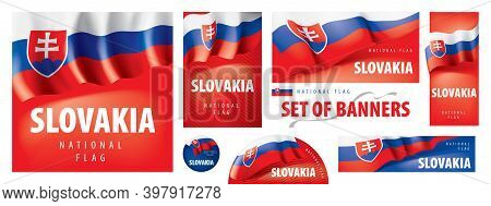 Vector Set Of Banners With The National Flag Of The Slovakia