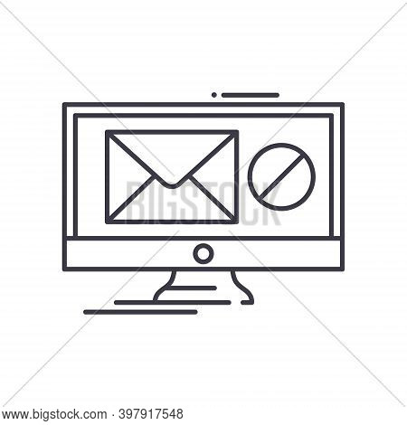 No Spam Concept Icon, Linear Isolated Illustration, Thin Line Vector, Web Design Sign, Outline Conce