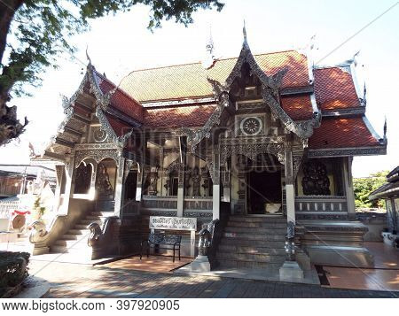 Chiang Mai, Thailand, December 6, 2018: Facade And Entrance Of Wat Muen San Temple, Silver Temple Of