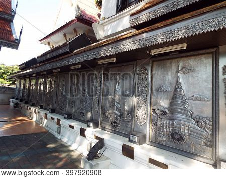 Chiang Mai, Thailand, December 6, 2018: Decorated Tin And Silver Fence In Wat Muen San Temple Courty