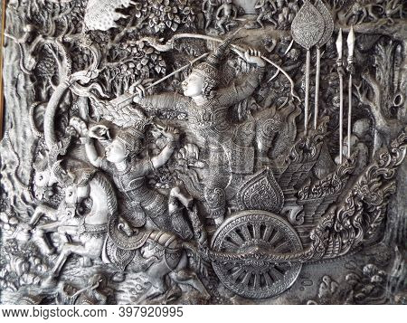 Chiang Mai, Thailand, December 6, 2018: Detail Of A Tin And Silver Relief Inside The Wat Muen San Te