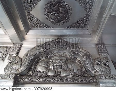 Chiang Mai, Thailand, December 6, 2018: Sculpture Above The Entrance Gate Of Wat Muen San, Chiang Ma
