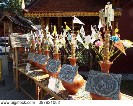 Chiang Mai, Thailand, December 6, 2018: Chinese Calendar Animals With Offerings At Wat Sri Suphan, C