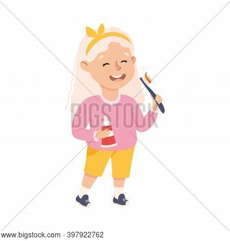 Obedient Girl With Good Breeding Brushing Her Teeth In The Morning Vector Illustration