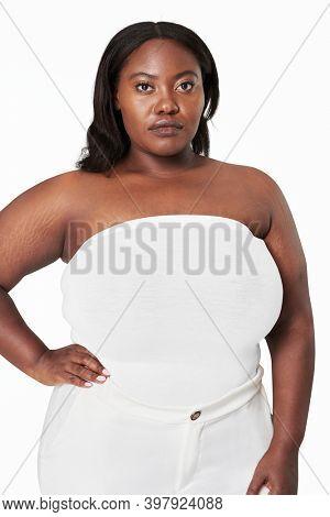 Size inclusive women's fashion strapless white top mockup