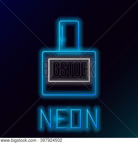 Glowing Neon Line Aftershave Icon Isolated On Black Background. Cologne Spray Icon. Male Perfume Bot