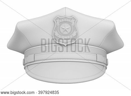 Clay Render Of Police Cap With Badge Isolated On White Background - 3d Illustration