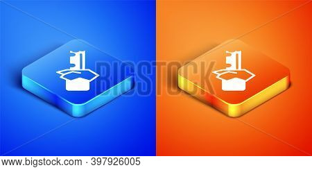Isometric Bitten Chocolate Bar Icon Isolated On Blue And Orange Background. Square Button. Vector