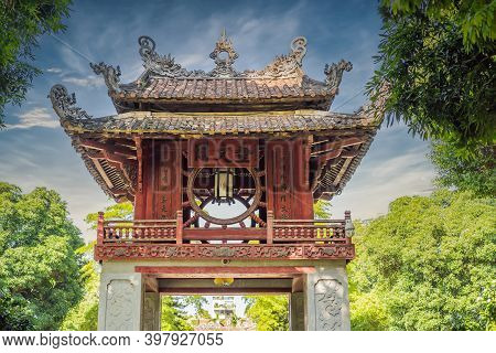 Temple Of Literature In Hanoi In Southeast Asia, Vietnam. Temple Of Confucius In Vietnamese Capital