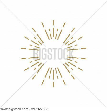 Golden Light Rays Frame. Shine Burst Background. Radiant Spark.