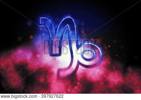 Capricorn Zodiac Sign, Night Sky,horoscope Astrology Background,capricorn Horoscope Symbol, Pink A