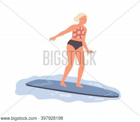 Female Surfer Ride On Surf Board. Active Woman In Swimsuit Standing On Surfboard And Catching Wave.