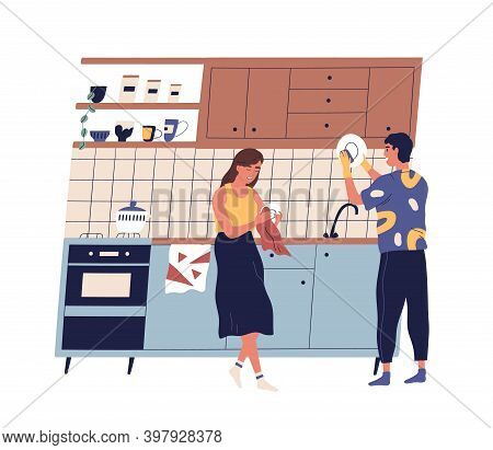 Family Washing And Rubbing Dishes In The Kitchen. Scene Of Young Couple Everyday Routine, Home Clean