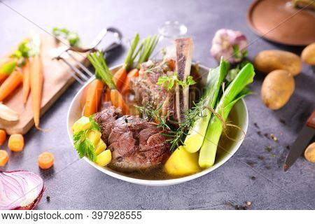 beef,  broth and vegetables-pot au feu