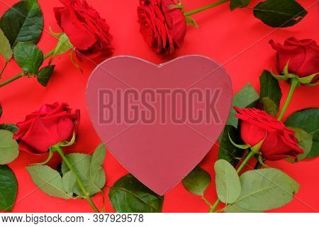 Valentine's Day Holiday.burgundy Heart Box, Red Rose Flowers Set On Bright Red Background. Blank Pos