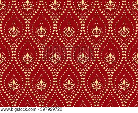 Floral Pattern With Llilies, Dots. Vintage Wallpaper In The Baroque Style. Seamless Background. Red