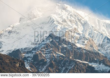 Summit Of Mt.annapurna South (7,219 M) At Sunrise A Mountain In The Annapurna Himal Range Of The Him