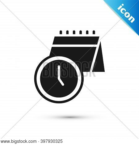 Grey Calendar And Clock Icon Isolated On White Background. Schedule, Appointment, Organizer, Timeshe