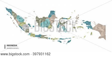 Indonesia Higt Detailed Map With Subdivisions. Administrative Map Of Indonesia With Districts And Ci