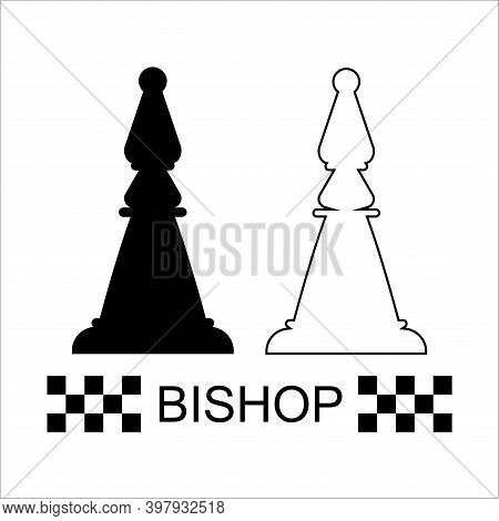 Black And White Queen Chess Piece On A White Background. Chess Pieces. Chess. Vector Illustration.