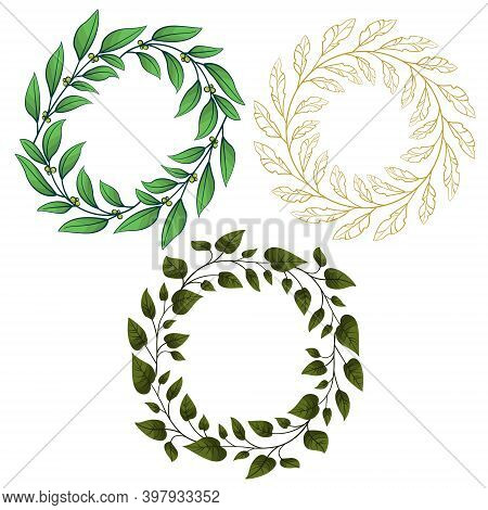 Set Of Vector Foliate Frames; Round Wreathes For Greeting Cards, Invitations, Posters, Banners.