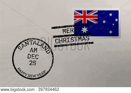 Postage Stamp Envelope With Australia Flag And Christmas And New Year Stamps, Vector
