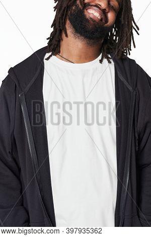 Men's white t-shirt and jacket fashion shoot in studio