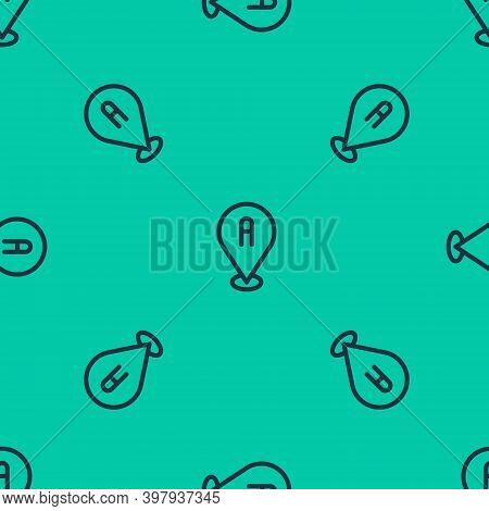 Blue Line Map Pin Icon Isolated Seamless Pattern On Green Background. Navigation, Pointer, Location,