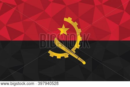 Low Poly Angola Flag Vector Illustration. Triangular Angolan Flag Graphic. Angola Country Flag Is A