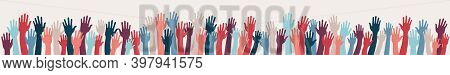 Group Raised Human Arms And Hands.diversity Multiethnic People.racial Equality.men Women Children Of