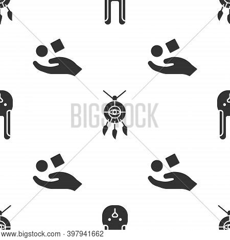 Set Rabbit With Ears, Dream Catcher With Feathers And Cube Levitating Above Hand On Seamless Pattern
