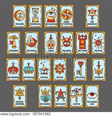 Full Deck Design For Tarot Cards.  Senior Arcana Tarot. Fortune Telling On Tarot Cards.