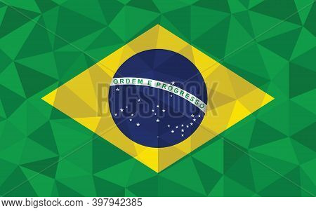 Low Poly Brazil Flag Vector Illustration. Triangular Brazilian Flag Graphic. Brazil Country Flag Is