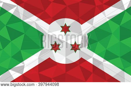 Low Poly Burundi Flag Vector Illustration. Triangular Burundian Flag Graphic. Burundi Country Flag I